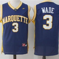 ONETOW Best Sale Online NCAA University Basketball Jersey Marquette Golden Eagles # 3 Dwyane Wade
