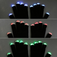 Black LED Light Raver Out Gloves RGB Show Gloves (Color: Black) = 1958042884