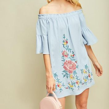 Blue Off Shoulder Embroidered Dress