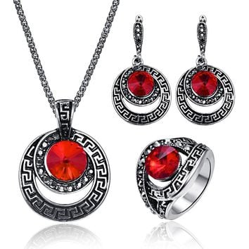 3Pcs/Set Vintage Round Crystal Pendant Jewelry Sets For Women Geometry Earring  Antique Ring Necklace Wedding Accessories Bijoux