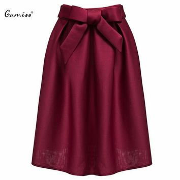 PEAPGB2 Gamiss Elegant Vintage Women Skirt High Waist Pleated Long Maxi Midi Skirt A Line Big Bow Red Black Side Zipper Skater Skirts
