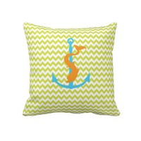 Green Chevron Pillow With Anchor and Dolphin from Zazzle.com