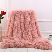 Super Soft Long Shaggy Fuzzy Fur Faux Fur Sherpa Throw Blanket