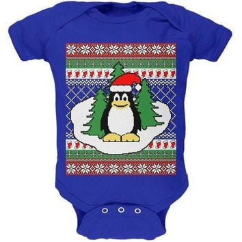 DCCKJY1 Penguin on Ice Ugly Christmas Sweater Soft Baby One Piece