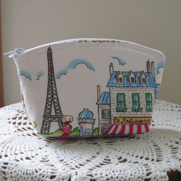 Cosmetic Bag Clutch Purse Cafe Rouge Paris Eiffel Tower