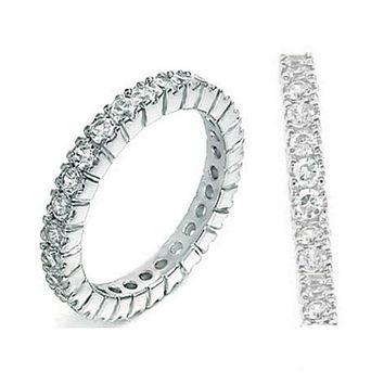 .925 Sterling Silver CZ Eternity Wedding Band Ring Ladies Size 4-11 Stackable Midi