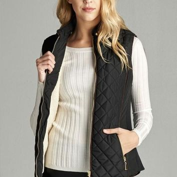 Faux Shearling Lined Padded Quilted Vest