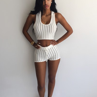 White Vertical Striped Hooded Cropped Top and Shorts