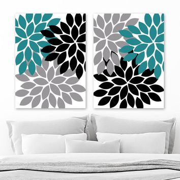 Teal Black Gray Flower WALL Art, Flower CANVAS or Prints Teal Black Gray Bathroom Decor, Teal Black Gray Flower Bedroom Pictures, Set of 2