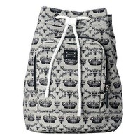 Dolce & Gabbana Multi Color Crown Print Women's Drawstring Backpack Bag