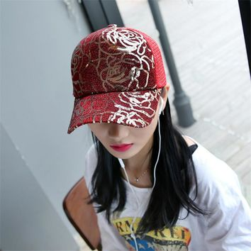 AOVKOVSA 2017 New Adult Sequins Women Baseball Cap Rose Sunscreen Sun-shade Net Yarn Couple Snapback Hat Drop Shipping