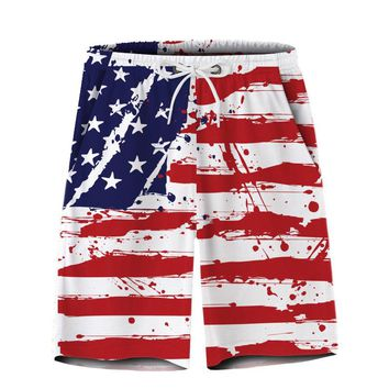 Male Fashion Stars and Stripes printed Casual Shorts Men Quick-dry Short Pants Jogger Workout Shorts Mens Summer Beach shorts