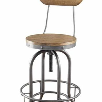 Set of 2 weathered brown finish wood seat and back with graphite color metal frame swivel seat bar stools