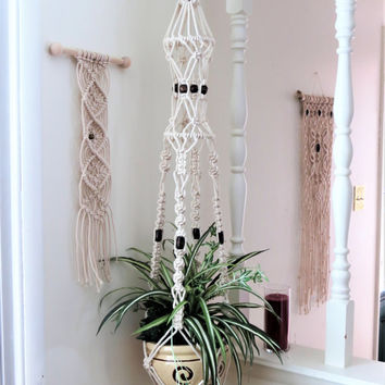 Large Cotton Macrame Plant Hanger, Vintage Style Birdcage Hanging Planter, Modern 70s Beaded Plant Holder, Long White Pot Hanger, Boho Gifts