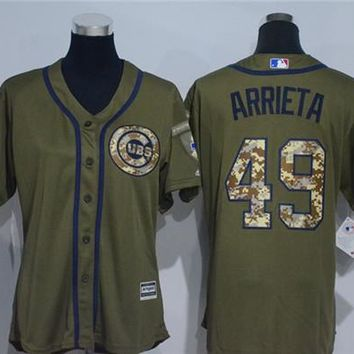 Women's Chicago Cubs #49 Jake Arrieta Majestic Cool Base Player Jersey
