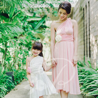 Junior / Mini Bridesmaid Dress Infinity Dress White Convertible Dress Multiway Wrap Dress