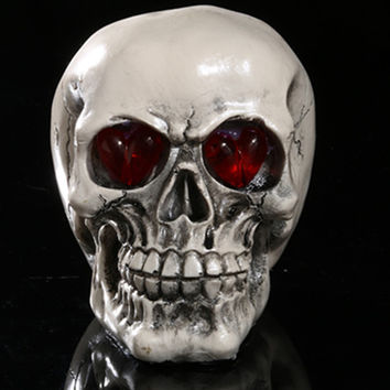 13*15*9.5cm New Model Gifts Resin  Head Skull red eye Halloween Props Human Skull Replica Haunted House Escape Horrible club