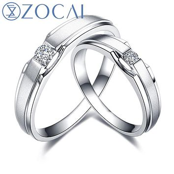 ZOCAI Ring Real 0.12 Ct Certified H/ SI Diamond Wedding Bands Ring His and Hers Diamond Ring 18K White Gold Q00023AB