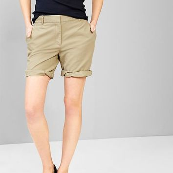 Boyfriend Roll Up Khaki Shorts
