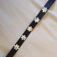 Holographic Flower Daisy Sequin Black Ribbon Choker