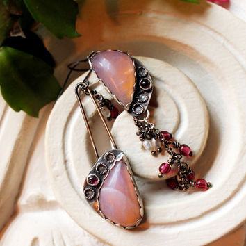 Asymetrical Silver Orchid Crystalline Earrings with Garnets, Pearls Czech Beads
