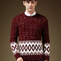 Burgundy Plus Size Snowflake Cable Knit Sweater