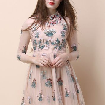 Garden Story Embroidered Mesh Dress in Beige