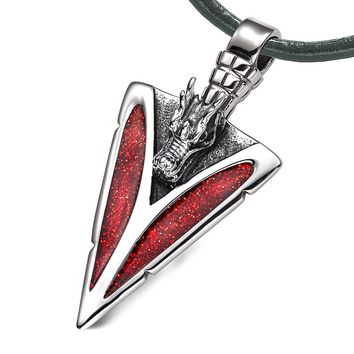 Arrowhead Courage Dragon Head Magic Powers Protection Amulet Sparkling Royal Red Pendant Leather Necklace