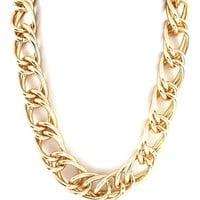 DaisyGem | Double Chunky Thick Twisted Gold Double Link Chain Choker Necklace