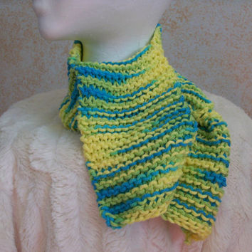 Winter Scarf-Yellow, Blue and Green