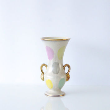 D & B WEST GERMAN POTTERY Vase from 1958, Pretty Pastel Polka Dots, Gold Pink Yellow Grey Mint, Easter Eggs, Hollywood Regency, Anniversary