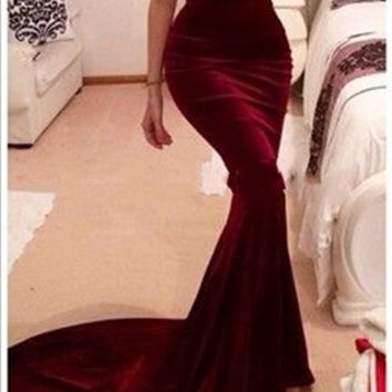 Unique Designer Burgundy Mermaid Prom Dresses 2015 women Long Train Flattered Fitted Red Wine Velvet Elegant Party Gowns A95