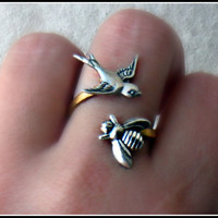 silver birds and the bees ring by alapopjewelry