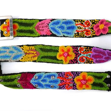 Embroidered belt black green tones, Brights On Green Purple Yellow, floral belts,belt embroidered wool, colorful belts, woman belts