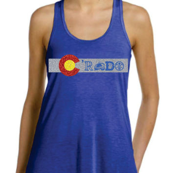 Colorado Flag Colors Glittery  with Rockies Avalanche Denver Broncos Nuggets on  Racer Back Tanktop