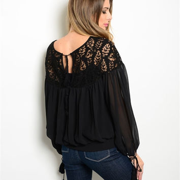Black Boho Sheer Leaf Blouse