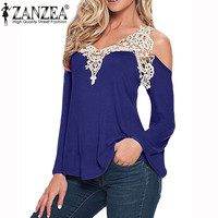 2016 New Autumn Women Blouses Sexy Off Shoulder Blouse Elegant Lace V Neck Shirt Ladies Long Sleeve Tops Blusas Plus Size