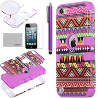 iPod Touch 5 case,ULAK® Hybrid Pink Hard Aztec Tribal Pattern with Purple Silicon Case Cover for Apple iPod Touch (Generation 5) + Screen Protector + Stylus