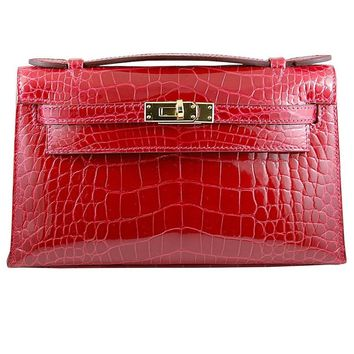 HERMES 22cm Red Crocodile Mini Kelly Bag