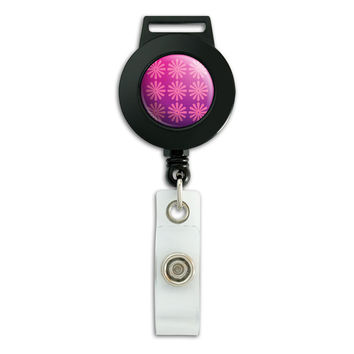 Pink Purple Flowers Retractable Badge Card ID Holder
