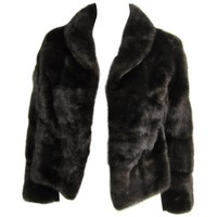Luxurious horizontal Ranch Mink Fur Cropped Jacket Shrug Coat XS By M Blaustein
