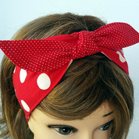 Red White Polka Dot Pinup Girl Headband, Bow Tie Red Retro Headband, Rockability Headband, Polka Dot Red Headband with a Bow Tie