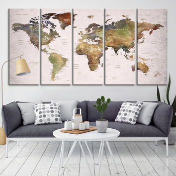 28552 - Large Wall Art World Map Canvas Print- Custom World Map Push Pin Wall Art- Custom World Map Canvas Poster Print- Personalized Wall Art