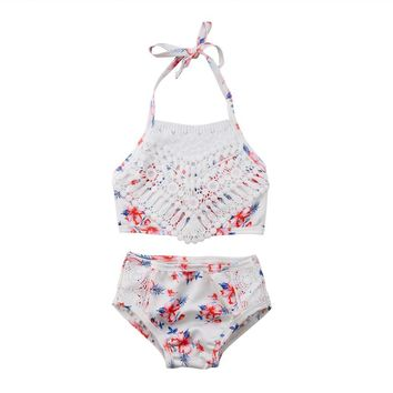 2Pcs Girls Two Pieces Bikini Toddler Baby Girl Hollow Out Lace Swimwear Floral Printing Bathing Suit Bikini Outfits Swimsuit Set