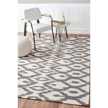 nuLOOM Handmade Modern Ikat Trellis Grey Rug (7'6 x 9'6) | Overstock.com Shopping - The Best Deals on 7x9 - 10x14 Rugs