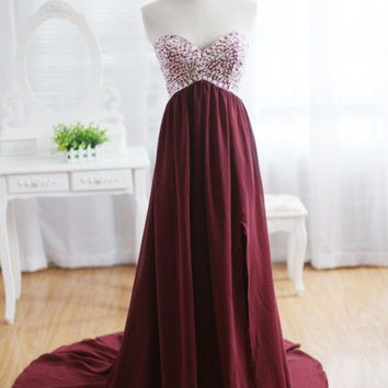 Burgundy Prom Dress, Burgundy Prom Dresses 2016, Chiffon Burgundy Bridesmaid Dress