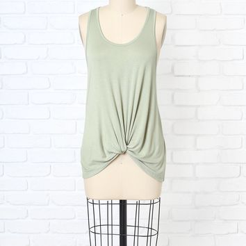 Light Olive Twisted Front Tank Top | NRFB