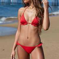 LA Hearts Ruffle Trim Triangle Bikini Top at PacSun.com