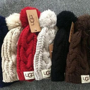 UGG Solid Color Winter Warm Knit Wool Beanies Hat Cap