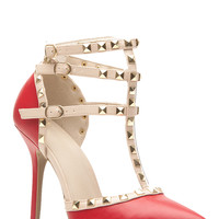 Red Faux Leather Studded Pointed Toe Single Sole Heels